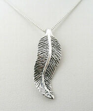Funky 925 Sterling Silver Oxidised Feather Pendant With Silver Box Chain 33910
