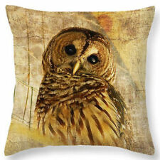 U.S. SELLER Vintage Owl Home Bed Decor Cushion Pillow Throw Cover Case Yellow