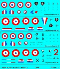 1/144 Decals WWI Allied Aces - France Wog Shapeways # YK-27