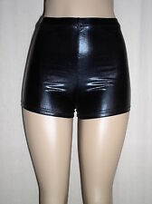 New Sexy SHINY BLACK Faux Leather METALLIC Spandex Derby BOOTY SHORTS - XL 12 14