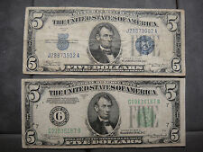 1 BLUE SEAL $5 NOTE 1 GREEN SEAL $5 NOTE BOTH 1934A SERIES CIRCULATED