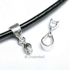 2x Sterling Silver Bail Pinch In Pendant Clasp Connector Slide