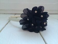 Ivory Girls Hairband Alice Band Navy Diamanté Flower Bridesmaid Flower Girl