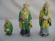 Vtg Early-Mid Century 3 Chinese Mudmen Figurines Handcrafted in Clay. Stamped