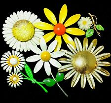 Colorful Vintage Big Enamel Metal Daisy Flower Power Brooch Lot Signed Lockets
