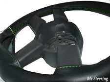 FITS MERCEDES SL R107 SLC 71-89 BLACK LEATHER STEERING WHEEL COVER GREEN STITCH