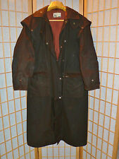 """Oilskin Riding Coat 54"""" Long Mens M Size Outback Trading Co. Ltd. Lined Duster"""