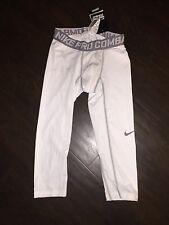 NWT NIKE PRO COMbat TRAINING COMPRESSION 3/4 TIGHT leggings WHITE MENS S Small