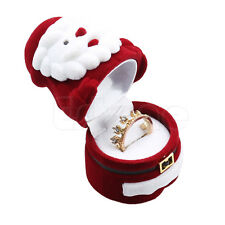 Santa Claus Design Ring Earring Ear Stud Necklace Jewellery Case Caddy Box Gift