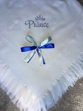 beautiful white/blue baby Boys shawl **NEW**  PERSONALISED Prince