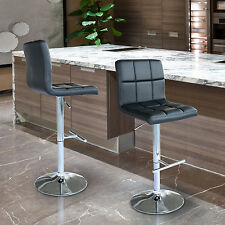HOMCOM Adjustable Pub Bar Stool Kitchen Chair Faux Leather Set of 2 - 220lbs