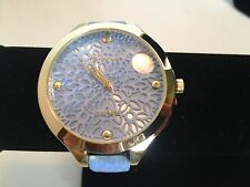 Geneva Platinum Blue Leather Stainless Steel Wrist Watch Floral Cut Out Face NEW