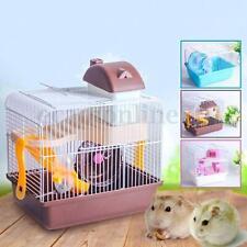 2Planta Ratón Hámster Jaula Casa Slide Spinning Wheel Hamster Botella House