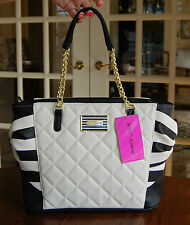 NWT Betsey Johnson Quilted Star Studded Tote Stripe Black Bone