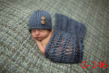 Newborn Photography Crochet Knit Hat Baby Wrap Infant Costume Photo Props Outfit