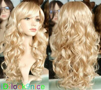 New Lady Sexy Long wavy curly Blonde Party Hair Wig + cap