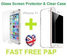 Prima de Silicona Funda y claro Protector de Pantalla de Vidrio Templado para iPhone Plus