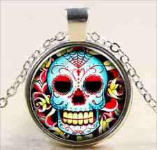 Vintage Skull Cabochon Tibetan silver Glass Chain Pendant Necklace