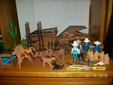 Vintage Playmobil Silver Ranch Parts Lot Figures,Animals, and Building