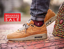 New Men Nike Air Max 1 Leather LTR Premium PRM Bronze Wheat Size 8 Euro 42.5