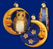 OWL IN MOON OLD WORLD CHRISTMAS GLASS CRESCENT & STARS HALLOWEEN ORNAMENT 26064