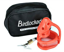 Red-orange Birdlocked Pico Silicone spikes Male Chastity Cage 50mm Ring A128-4