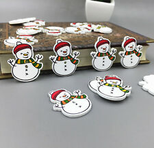 20X Christmas Hat Snowman Wooden Button Sewing Scrapbooking  embellishment 32mm