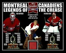PATRICK ROY-JACQUES PLANTE-KEN DRYDEN VEZINA TRIBUTE PHOTO W/MONTREAL FORUM SEAT