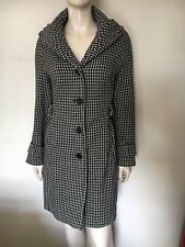 Smart Houndstooth Wool Blend,Coat By Karen Millen Black/Pink/Grey, UK 14
