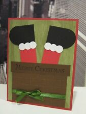 "Stampin Up ""Merry Christmas"" Santa In Chimney Paper Pieced Handmade Card"