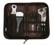 Camping Outdoor Cooking Cookware Kitchen Tool Set Knife Scissors Tongs Scoop 9p