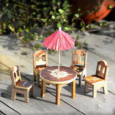 Wood Desk+Chair+Umbrella Miniature Dollhouse Garden Craft Fairy Plant Decor