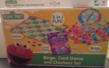 Cardinal Sesame Street Bingo, Go Fish Card Game and Checkers Set NEW 3 in 1 game