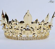Men's Tiaras King Diadem Gold Plated Full Crown Pageant Party Costumes Headpiece