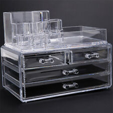 New Makeup Cosmetics Organizer Clear Acrylic Drawers Grids Display Box Storage