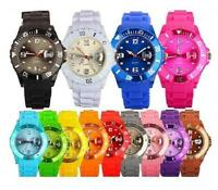 STYLE UNISEX SILICONE RUBBER JELLY WRIST WATCH DATE FOR ADULT BOYS GIRLS fashion