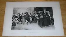 ANTIQUE FLANDERS FEAST CARNIVAL BAGPIPES DANCING LUTE FALSTAFFIAN MONK OLD PRINT