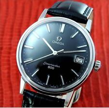 "Excellent Mens OMEGA "" Seamaster 600 "" Steel Manual Winding  Black Dial"
