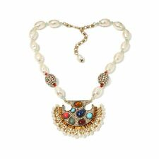 "Heidi Daus Exotic Harmony Multi Gemstone Drop Necklace 19""L"