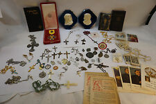 VINTAGE CATHOLIC LOT RELIGIOUS ROSARY SILVER CRUCIFIX PRAYER BOOK SCAPULAR HOLY