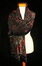 100% SILK VELVET DEVORE SCARF in BEAUTIFUL RICH TONES UK SELLER FAST DELIVERY