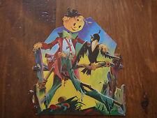Vintage Dennison Halloween Harvest Scarecrow Crow Die Cut Cardboard Decoration