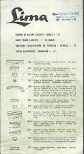 Volantino Lima  HO - Schemi di alcuni Circuiti scala 1 : 10 -  anni '60 Trenini