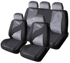 Universal Car Seat Cover Set Gris Plata Terciopelo Lavable Airbag Compatible