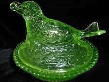 Green Vaseline glass Robin bird hen on nest basket dish candy butter uranium art