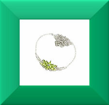 New Green Peridot & White CZ 925 Silver Necklace 18.5 inch FREE SHIPPING # 255