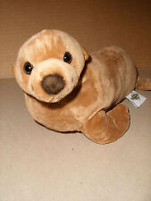 The Petting Zoo Brown Sea Lion Seal Stuffed Plush Beanie 12 IN EXCELLENT