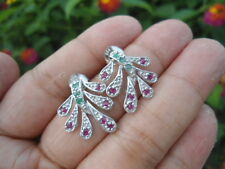 Natural EMERALD & RUBY Stones Sterling 925 Silver PlantDesign EARRINGS