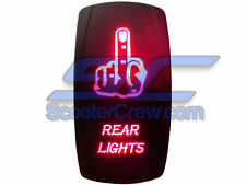UTV Rocker Switch Red Led On Off Rear Lights Toggle Square 5 tab Dune Sand ATV