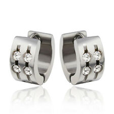 Best Quality Stainless Steel Earring Studs Shiny Round Crystals For Women Men